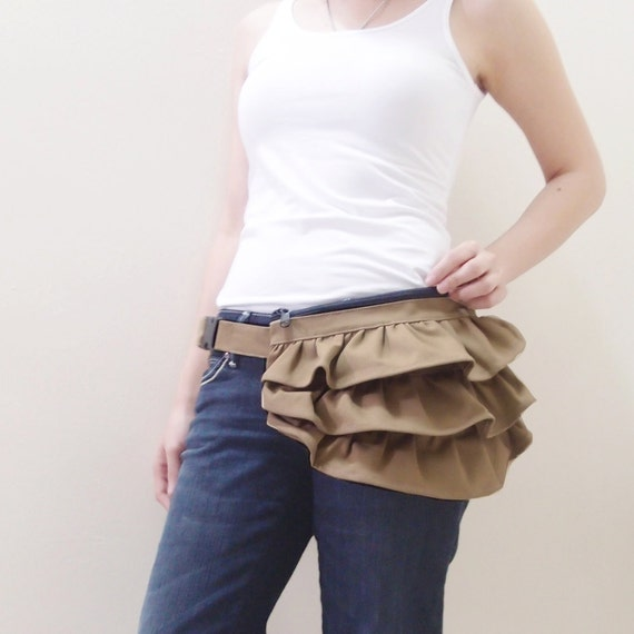 Halloween SALE - 20% OFF - Gathered Waist Purse in Khaki / Fanny Pack / Hip Bag / Pouch / Waist Belt Bag / For Her / Gift Ideas