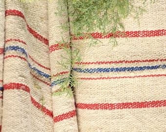 P 402 antique hemp linen roll french RED  and BLUE천 grainsack fabric 13.117yards wedding decor lin 19.69wide
