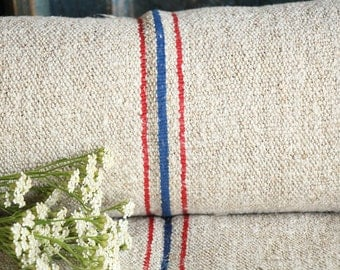 R 424  antique RED BLUE 7.10 y lin upholstery fabric tablerunner cushion 22.83wide wedding decor french lin