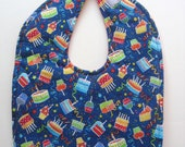 Ready To Ship -  Happy Birthday Baby Bib - Birthday Toddler Bib - Birthday Cake Baby Bib - Size 6 Months to 2T