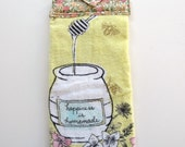 Ready To Ship  - Honey & Bees Hanging Kitchen Towel - Yellow Kitchen Towel - Homemade Happiness Button Top Kitchen Towel - Fabric Top Towel