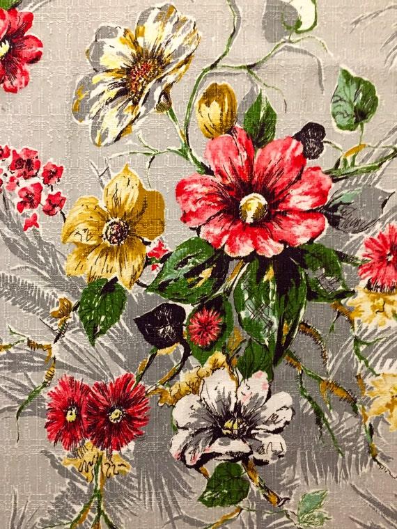 Dazzling Daisies Mid Century Barkcloth Vintage Floral
