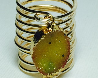 Yellow agate druzywire ring