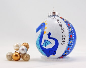 Cute dragon ornament - Baby's First Christmas - Hand painted glass ornament