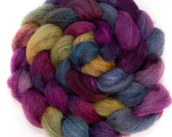 Hand painted top, Grey Jacob Tussah silk, fibre, hand dyed roving,  fiber,  felting,  spinning wool, nuno felting, 100g, colour; Alchemy