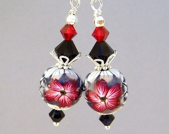 Silver grey and red earrings, red floral polymer clay, Swarovski crystal