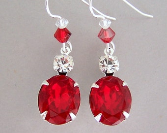 Ruby red earrings, sparkly red vintage glass dangles, Swarovski crystal, red glass earrings, red bridal earrings, bridesmaids, wedding