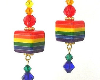 Rainbow striped earrings, rainbow cube earrings, multicolor striped earrings, resin and Swarovski crystal elements