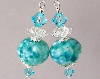 Light turquoise crystal earrings, lampwork glass teal earrings with Swarovski crystal elements and sterling silver earwires
