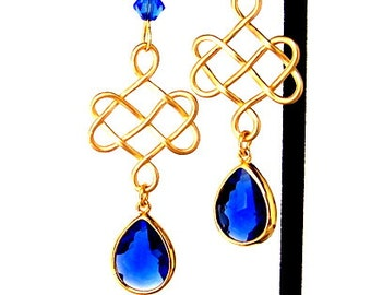 Celtic knot and sapphire earrings, sapphire blue teardrop earrings, Irish, blue and gold wedding jewelry, bridal, bridesmaid, maid of honor