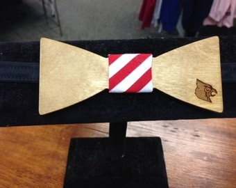 Wood Bow Tie with engraved cardinal head, neck wear, mens tie
