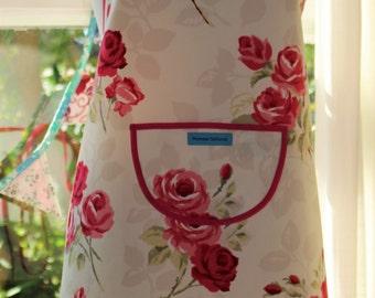 English Rose - Fuchsia Edged, Floral Print Apron.  Womens Full Apron