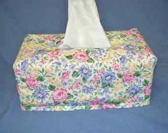 Flower Theme, Fabric Tissue Box Cover (Free US Shipping)