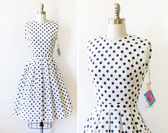vintage polka dot dress, 60s white and navy polka dot dress, small polka dot sundress