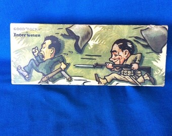 Vintage Interwoven WWII Sock Box Solider, Military, Racist 40's War Propaganda America, Japan Advertising Product Item