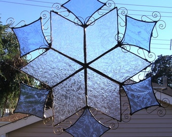 Stained Glass Blue and Clear Snowflake Panel/Suncatcher...One of a Kind...Ready to Ship
