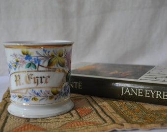 Jane Eyre Book And Decor/Antique Limoges Porcelain Shaving Mug/Victorian Edwardian/Personalized R. Eyre/With Vintage Edition Book Jane Eyre