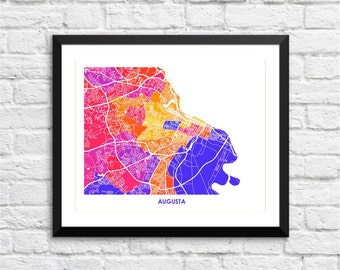 Augusta Map Print.  Pick the Colors and Size.  Perfect city wall art for your favorite Georgia Peach.