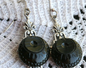 Button Earrings made w Victorian Black Glass Buttons and Hand Crafted Sterling Silver Wires