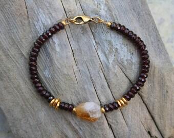 Citrine and Garnet Bracelet, Citrine Bracelet, January Bracelet, November Birthstone Bracelet, November Bracelet, January Birthstone