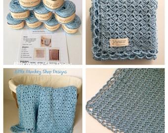 Baby Blanket Crochet Kit - Organic cotton - Crochet Kit - Baby Blue Baby Blanket Crochet PATTERN + 9 skeins of Organic Cotton Yarn