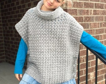 Crochet Poncho PATTERN - Cowl - Poncho Pattern - Sizes (2, 3/4, 6/8, 10/12, 14, S, M, L, XL) Girls, Women