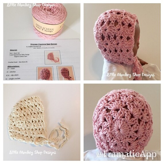 Crochet Thread Baby Bonnet Pattern : Crochet Baby Bonnet Kit Crochet Pattern and Yarn Crochet