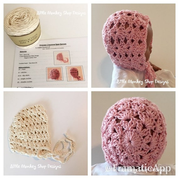 Crochet Patterns Kits : Crochet PATTERN Kit: Princess Charlotte Baby Bonnet Crochet PATTERN ...