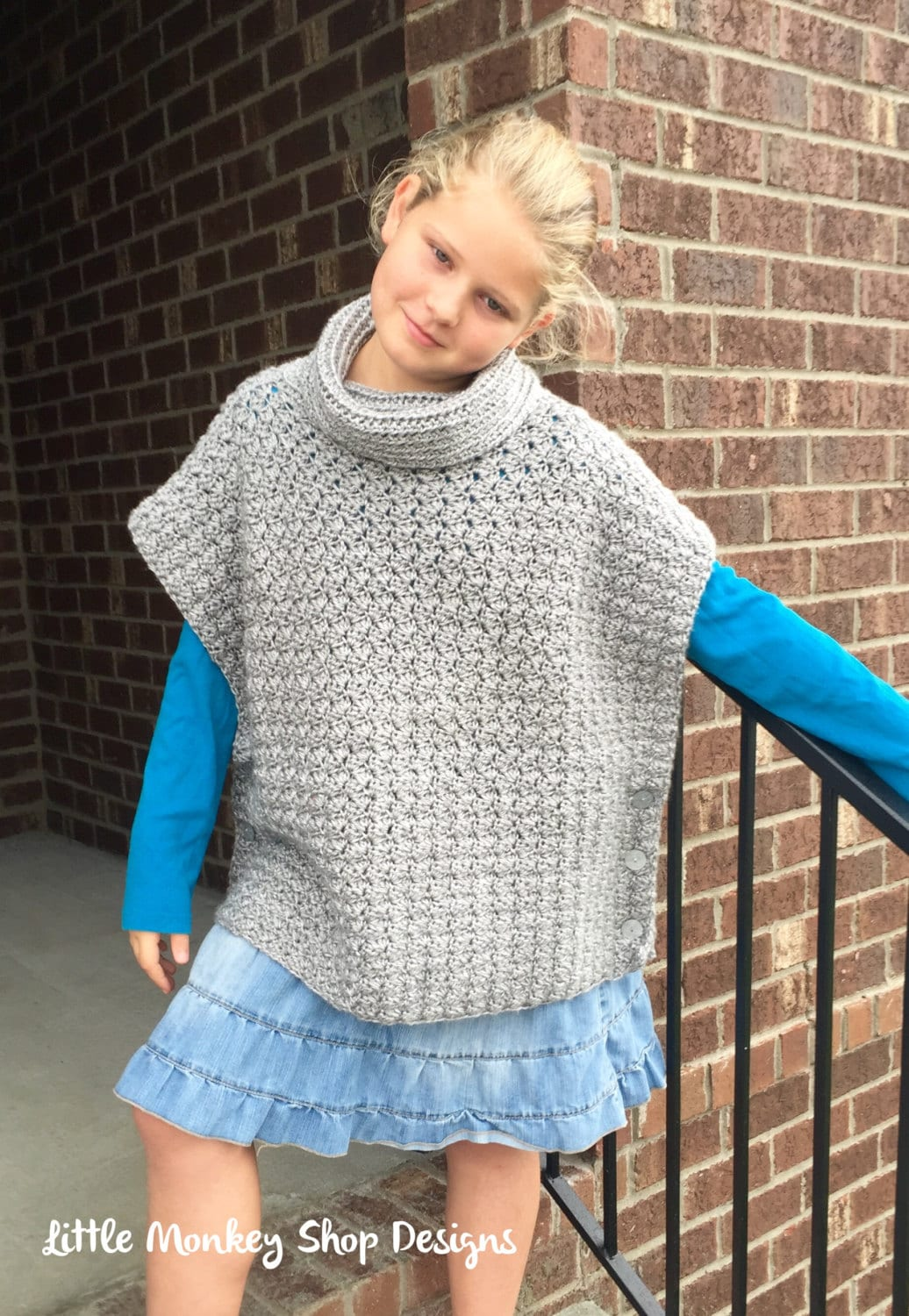 Free Crochet Patterns For Cowl Neck Poncho : Crochet Poncho PATTERN girls Cowl Neck Poncho by ...