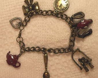 Charm Bracelet Steampunk Jewelry Rustic Chain and Charms