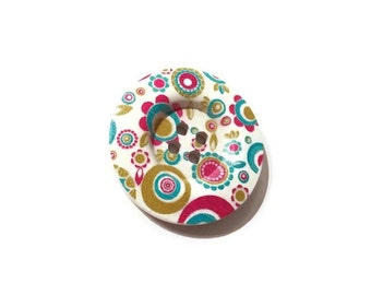 Painted button - Paisley flowers and dots wooden sewing button 1.5 inch