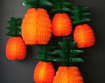 Honeycomb Pineapple Decoration / tissue paper decoration / hanging fruit decoration / luau party decor / orange decorations /