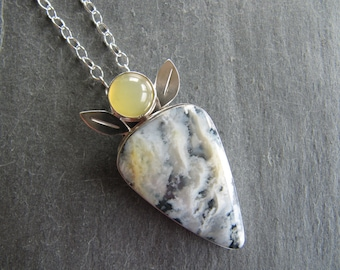 Pendant of Stinking Water Plume Agate and Yellow Opal in Sterling Silver