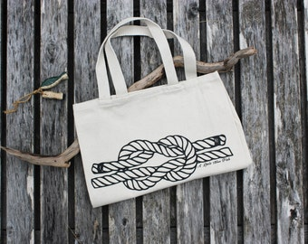 Reef Knot Canvas Tote Bag, Reusable Tote, Shopping Bag, Sailing Knot, Beach Bag, Nautical Tote