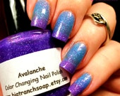 "NEW - Ombre Color Changing Thermal Nail Polish - ""Avalanche""-Blue to Purple Glittery-Temperature Changing - 0.5 oz Full Sized Bottle"