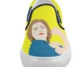 HILLARY CLINTON rosie the riviter stronger together women's slip on shoes... original illustration