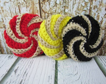 Kitchen Scrubbies, Crochet Dish Srub Pads, Spiral Scrubbies, Housewarming Gift, Crochet Gift Idea, Red Yellow Black Tan, dishware wash pad