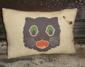 PRIMITIVE Retro BLACK CAT Pillow Tuck Ornie Halloween Shelf Sitter