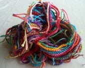 Hand Crochet Art Yarn, Carnival Colorway, Recycled Cotton Embroidery Thread, 60 yards