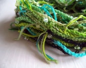 Hand Crochet Art Yarn, Grass and Black Dirt Colorway, Recycled Cotton Embroidery Thread, 30 yards
