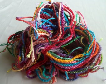 Hand Crochet Art Yarn, Carnival Colorway, Recycled Cotton Embroidery Thread, 30 yards