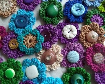 Crochet Cotton Flower Embellishments, Jewel Toned Wildflower Mix, OOAK, Set of 12, Every set different!