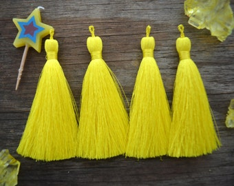 """Neon Yellow, 3"""" Luxe Silk Tassels, Solid Color Jewelry Tassel, 2 pcs, Handmade Tassels, Jewelry Tassels, Tassel, Tassels for Jewelry, Supply"""