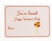 Lollipop Valentines Cards for Kids Classroom Exchange (Quantity 15)