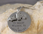 My Heart Belongs to a Truck Driver Handstamped Necklace with Semi Truck