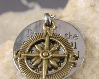 Trust in the Lord with All Your Heart Proverbs 3 5 with Silver Compass Handstamped Necklace