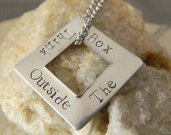 Think Outside the Box Stainless Steel Necklace
