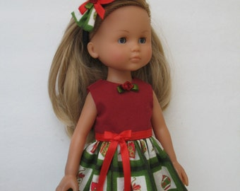Clothes for Corolle Les Cheries,Paola Reina Doll Christmas Dress with Hair Snap