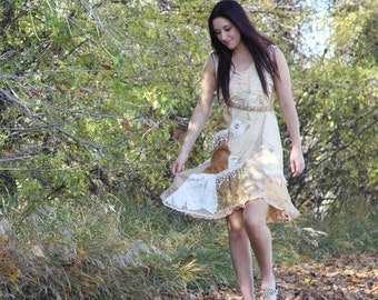 upcycled clothing, upcycled fashion, wearable art dress . august moon . XS - S