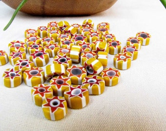 Chevron Red Yellow White Beads - Jewelry Supply - Necklace Bracelet Earring Beads - Jewelry Beads - 49 beads - Destash